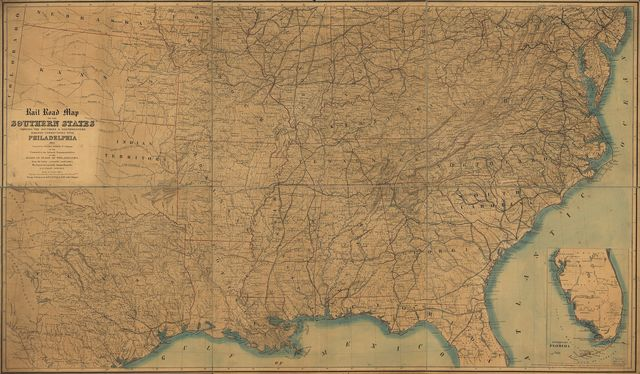 Rail road map of the southern states shewing the southern & southwestern railway connections with Philadelphia.