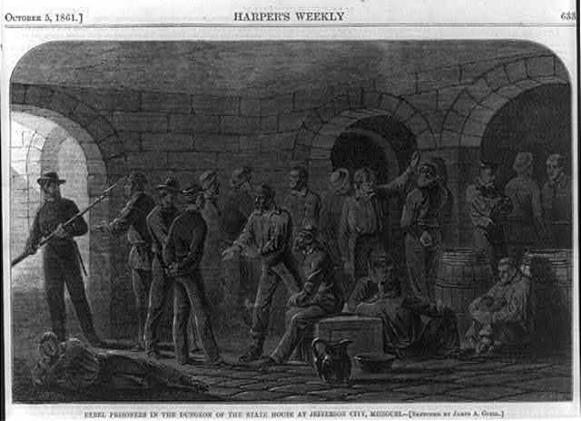 Rebel prisoners in the dungeon of the State House at Jefferson City, Missouri