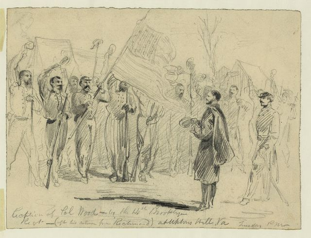 Reception of Col Wood--by the 14th Brooklyn Regt.--(after his return from Richmond) at Uptons Hill, Va.--Tuesday, p.m.