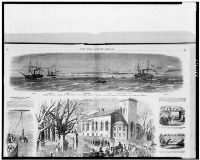 Relief of Fort Pickens, by the United States fleet, March 23, 1861 / sketched from the wheel-house of the Atlantic by an officer of the expedition.