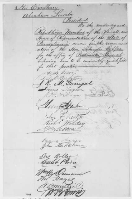 Republican Members of Pennsylvania Legislature to Abraham Lincoln, January 1861  (Petition recommending Colfax for cabinet)