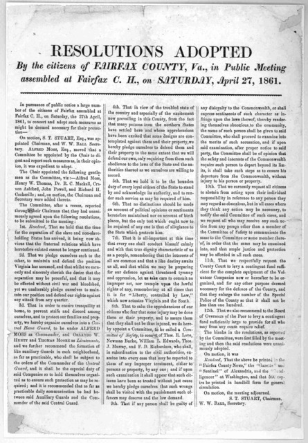 Resolutions adopted by the citizens of Fairfax County, Va., in public meeting assembled at Fairfax, C. H., on Saturday, April 27, 1861.