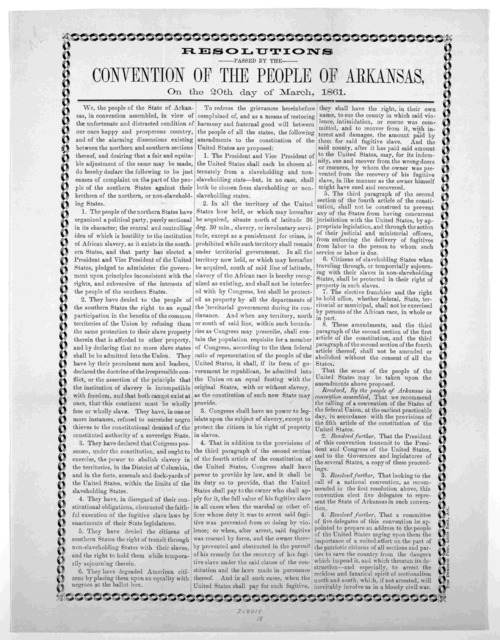 Resolutions passed by the Convention of the people of Arkansas on the 20th day of March, 1861.