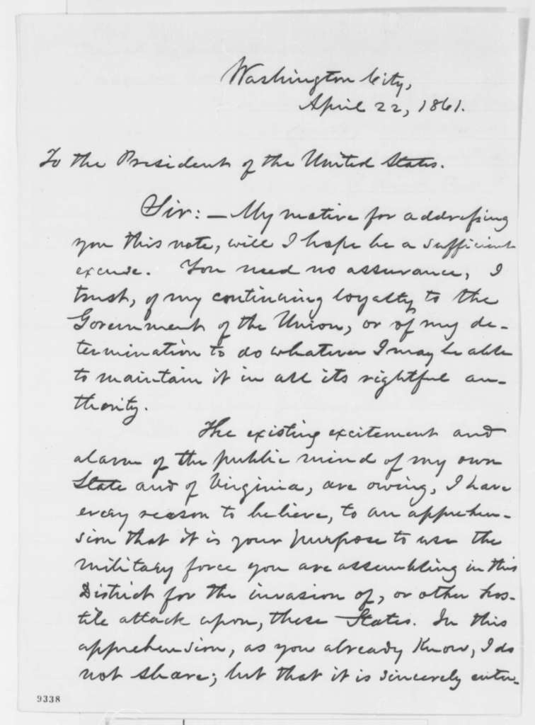 Reverdy Johnson to Abraham Lincoln, Monday, April 22, 1861  (Why is Lincoln bringing troops to Washington?)