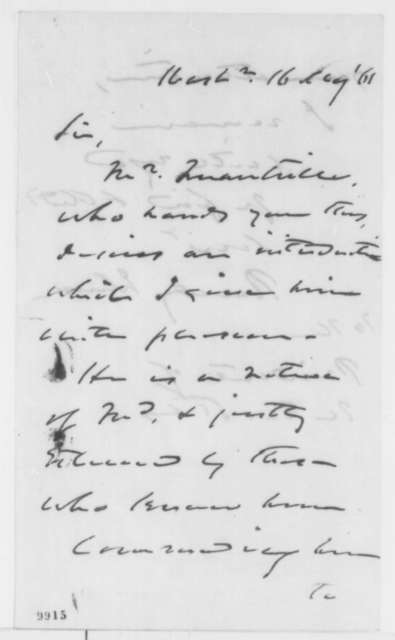 Reverdy Johnson to Abraham Lincoln, Thursday, May 16, 1861  (Introduction)