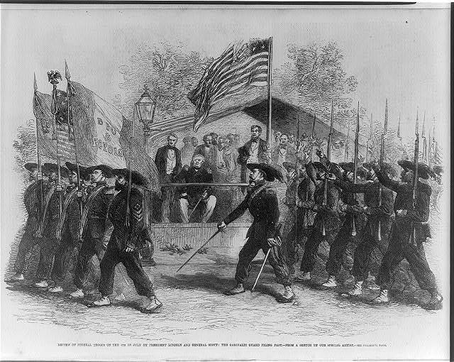 Review of Federal troops on the 4th of July by President Lincoln and General Scott; the Garibaldi Guard filing past / from a sketch by our special artist.