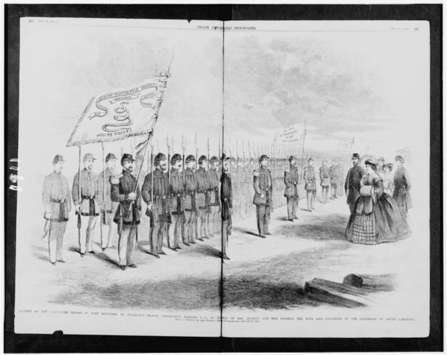 Review of the volunteer troops in Fort Moultrie, on Sullivan's Island, Charleston Harbor, S.C., in the presence of Mrs. Pickens and Miss Pickens, the wife and daughter of the governor of South Carolina / from a sketch by our special artist now in Charleston.