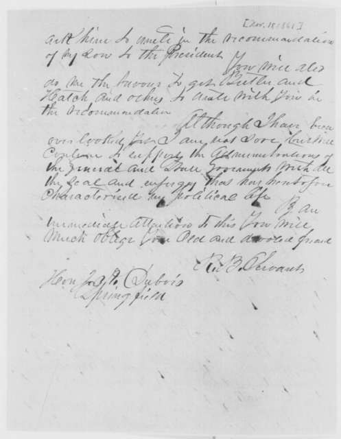 Richard B. Servant to Jesse K. Dubois, Friday, November 15, 1861  (Seeks appointment for his son)