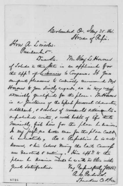 Richard C. Parsons to Abraham Lincoln, Friday, January 25, 1861  (Recommendation)