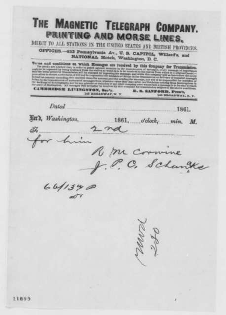 Richard M. Corwine and J. P. C. Schanaks to Caleb B. Smith, Monday, September 16, 1861  (Telegram regarding Fremont)