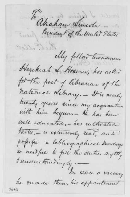 Richard Mott to Abraham Lincoln, Monday, March 11, 1861  (Recommendation)
