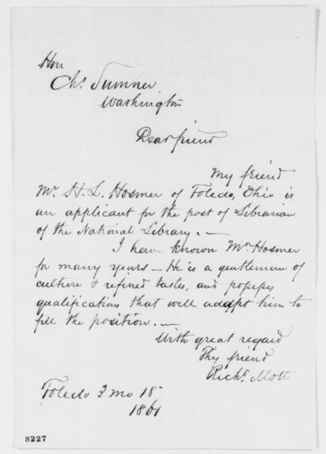 Richard Mott to Charles Sumner, Monday, March 18, 1861  (Recommendation)