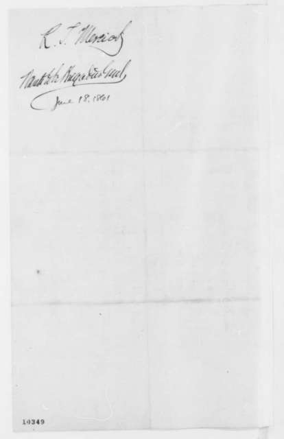 Richard T. Merrick to Abraham Lincoln, Tuesday, June 18, 1861  (Seeks commission in army)
