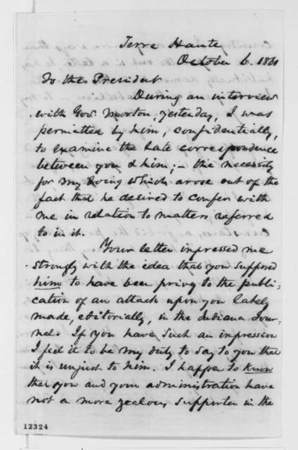 Richard W. Thompson to Abraham Lincoln, Sunday, October 06, 1861  (Military and political affairs in Indiana)