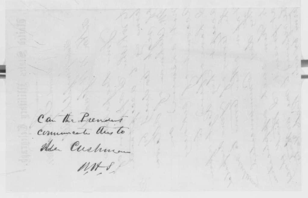 Richard Yates to William H. Seward, Friday, September 20, 1861  (Telegram regarding military affairs; with endorsement from Seward to Lincoln)