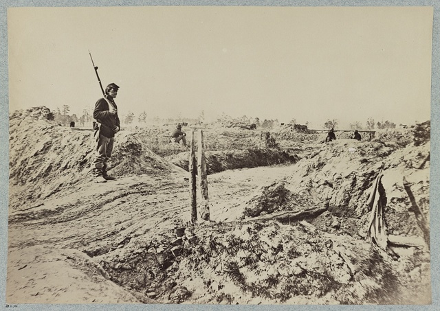 Rifle pits on the picket line in front of Petersburg, Va.