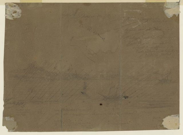 [River landscape with boats]