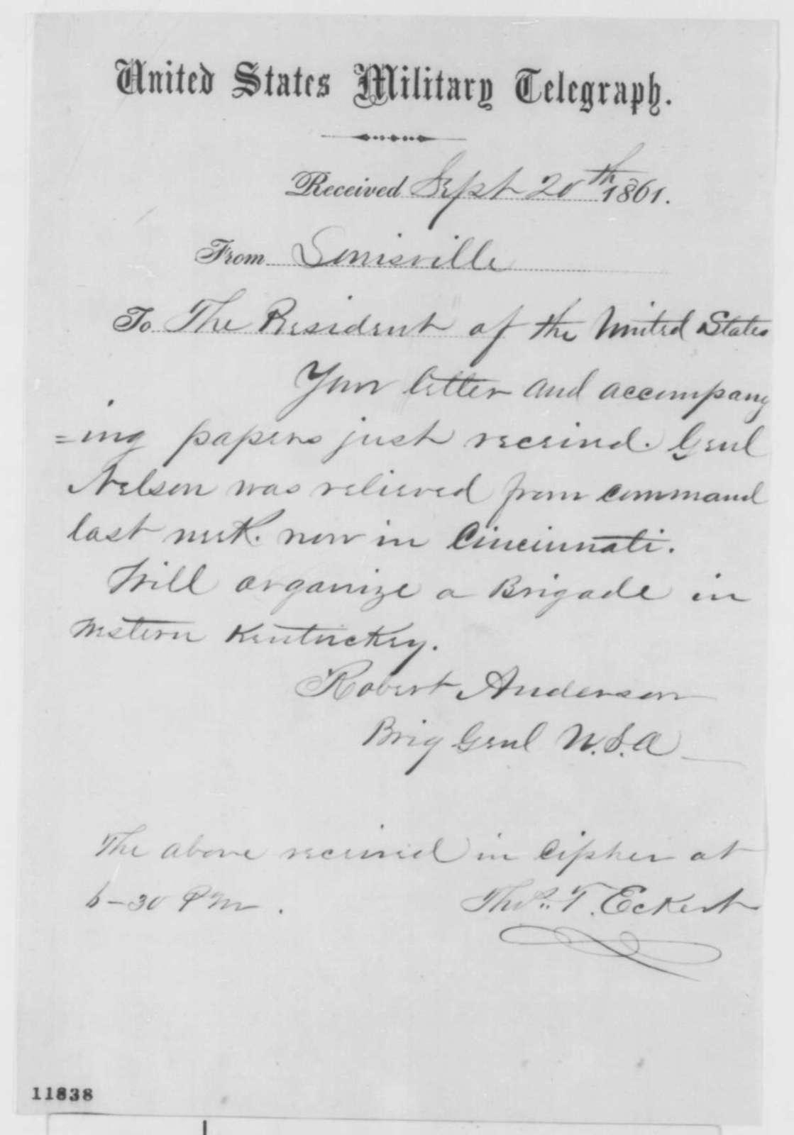 Robert Anderson to Abraham Lincoln, Friday, September 20, 1861  (Telegram acknowledging receipt of letter)