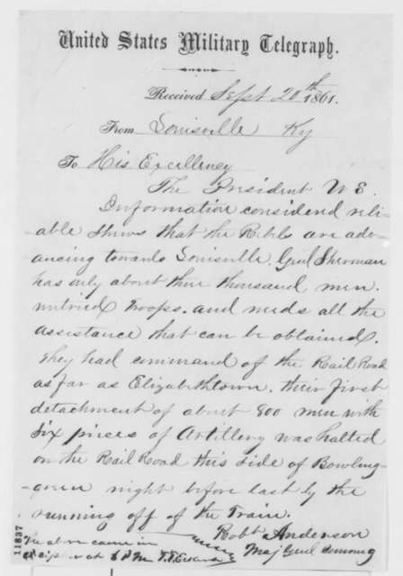 Robert Anderson to Abraham Lincoln, Friday, September 20, 1861  (Telegram reporting military situation in Kentucky)