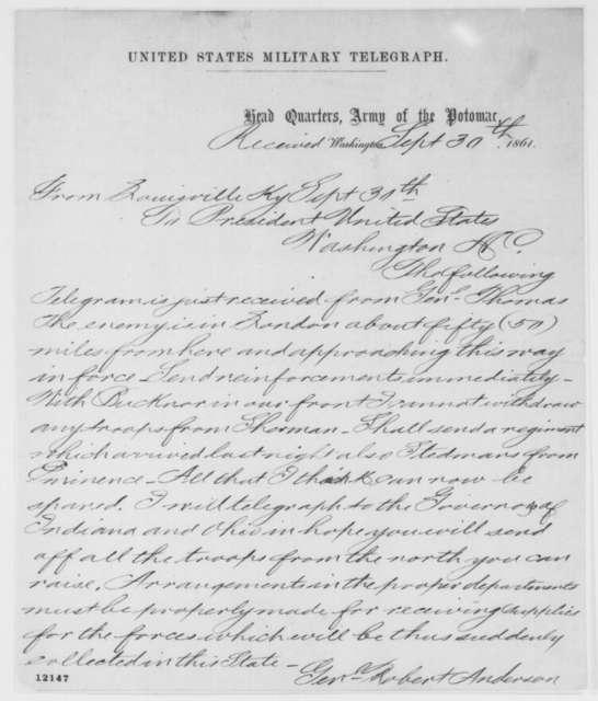 Robert Anderson to Abraham Lincoln, Monday, September 30, 1861  (Telegram regarding military affairs)
