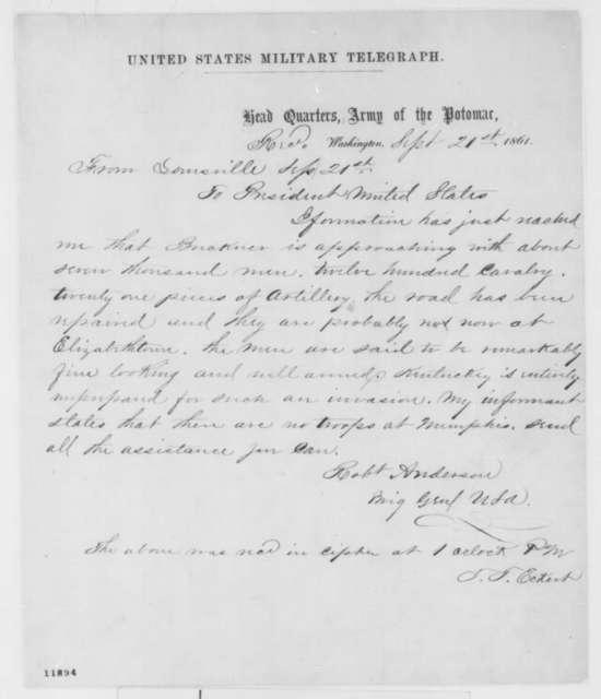 Robert Anderson to Abraham Lincoln, Saturday, September 21, 1861  (Telegram regarding military situation in Kentucky)
