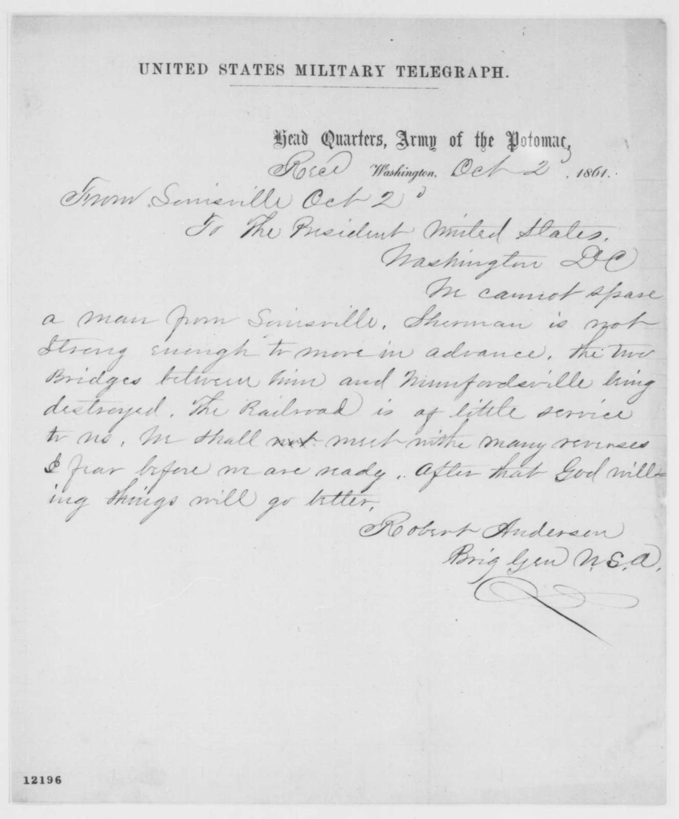 Robert Anderson to Abraham Lincoln, Wednesday, October 02, 1861  (Telegram regarding military affairs)
