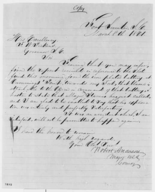 Robert Anderson to Francis W. Pickens, Friday, March 08, 1861  (Explanation for shot fired)