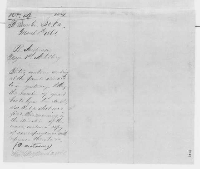 Robert Anderson to Samuel Cooper, Friday, March 08, 1861  (Report from Fort Sumter)