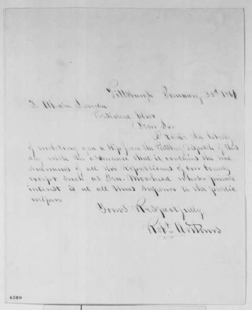 Robert Arthurs to Abraham Lincoln, Tuesday, January 22, 1861  (Sends clipping)