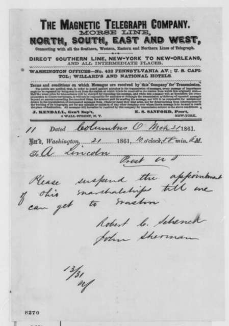 Robert C. Schenck and John Sherman to Abraham Lincoln, Thursday, March 21, 1861  (Telegram regarding Ohio patronage)