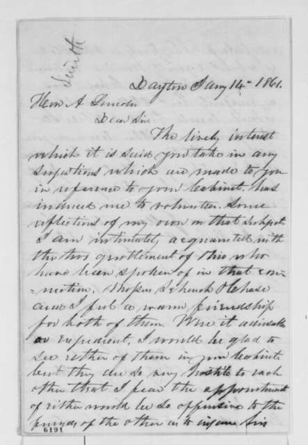 Robert G. Corwin to Abraham Lincoln, Monday, January 14, 1861  (Recommends Caleb Smith for cabinet)