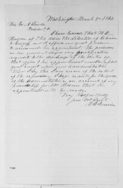Robert G. Corwin to Abraham Lincoln, Saturday, March 09, 1861  (Recommendation)