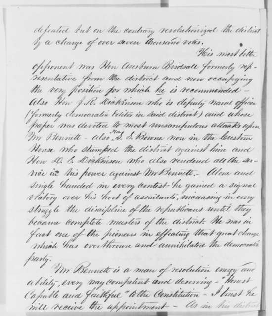 Robert H. Duell to Abraham Lincoln, March 1861  (Recommendation)