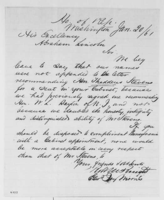 Robert McKnight and Edward J. Morris to Abraham Lincoln, Sunday, January 20, 1861  (Recommend Thaddeus Stevens for cabinet)