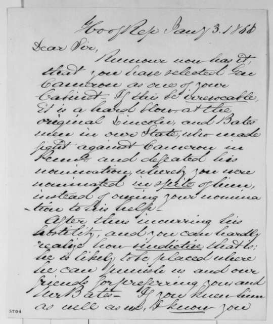 Robert McKnight to Abraham Lincoln, Thursday, January 03, 1861  (Cameron)