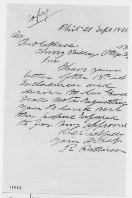 Robert Patterson to John W. Hall, Saturday, September 21, 1861  (Acknowledgment)