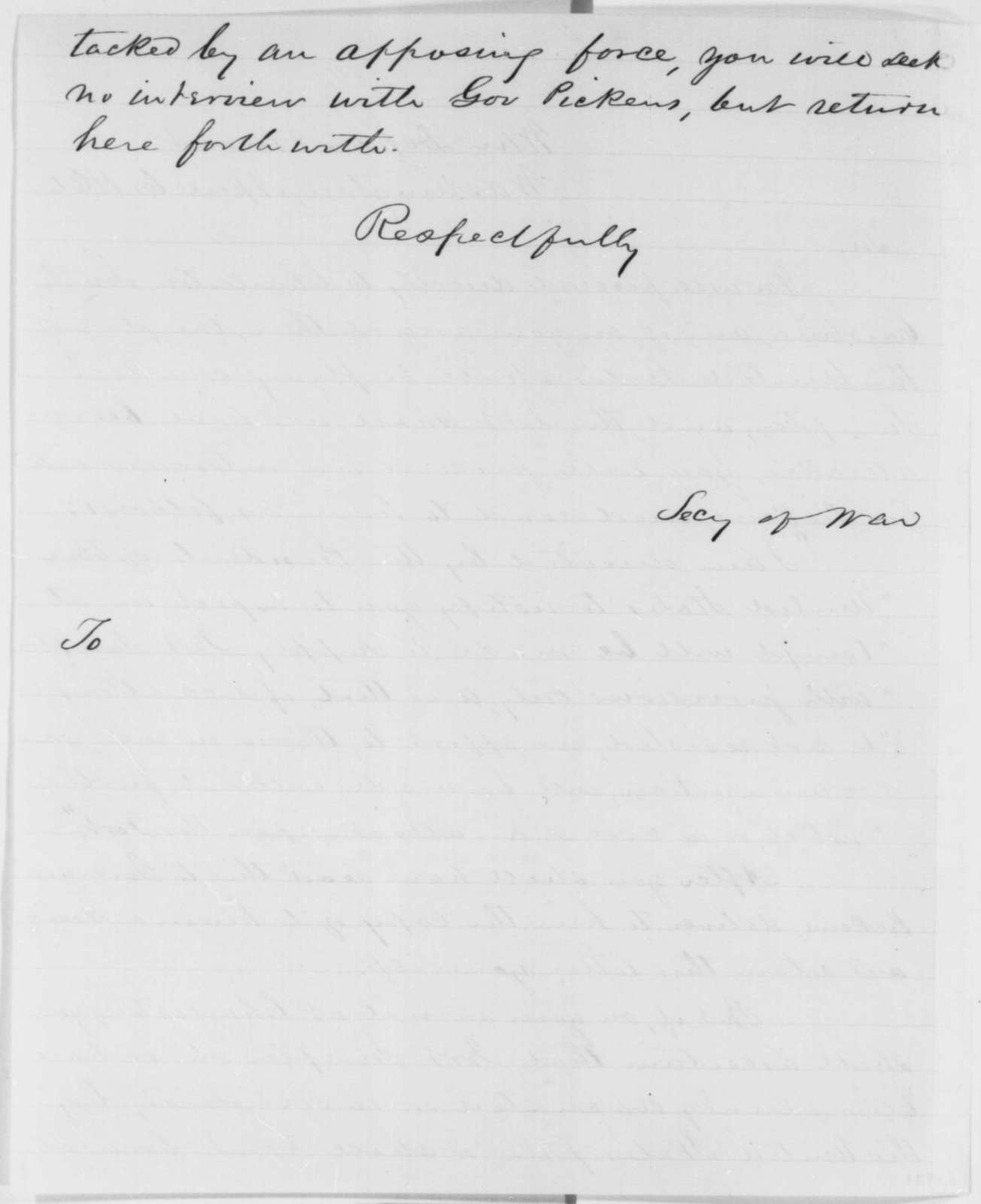 Robert S. Chew to Abraham Lincoln, Monday, April 08, 1861  (Report of meeting with Gov. Pickens)