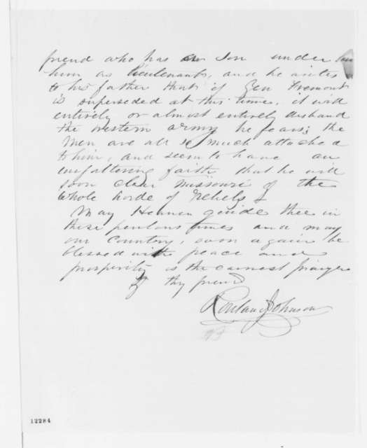 Rowland Johnson to Abraham Lincoln, Friday, October 04, 1861  (Supports Fremont)