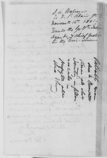 S. B. Watrous to Francis P. Blair Jr., Friday, November 15, 1861  (Removal of New Mexico office holders; with endorsement by Frank Blair)