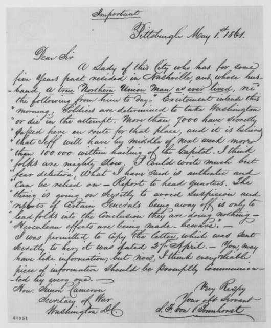S. F. Von Bonnhorst to Simon Cameron, Wednesday, May 01, 1861  (Rumor of Confederate attack upon Washington)