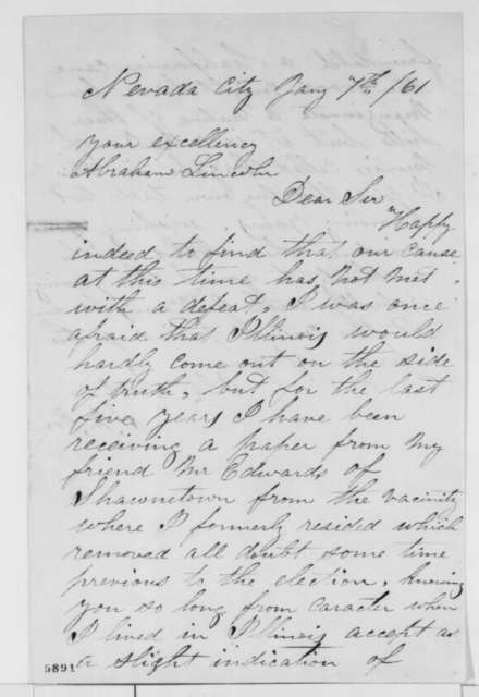 S. M. Orr to Abraham Lincoln, Monday, January 07, 1861  (Sends cane)