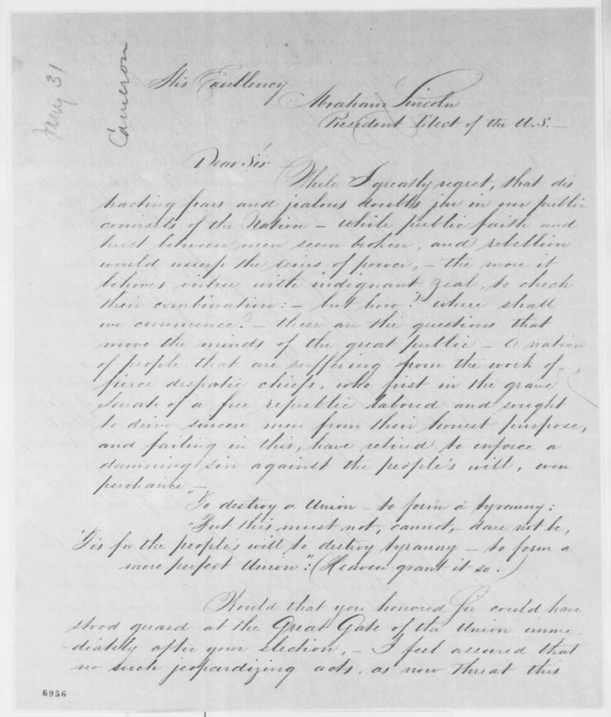 S. Snyder Leidy to Abraham Lincoln, Thursday, January 31, 1861  (Recommends Cameron for cabinet)