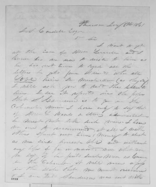 S. T. Canby to J. S. Cordell, Tuesday, January 08, 1861  (Opposes Cameron)