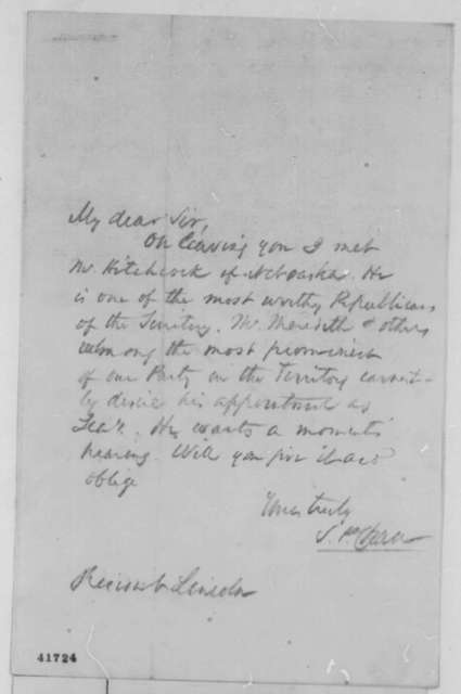 Salmon P. Chase to Abraham Lincoln, [1861]  (Recommendation)