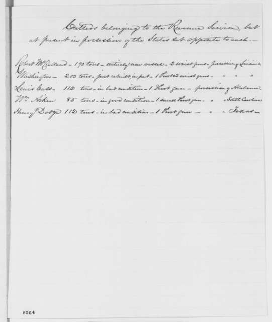 Salmon P. Chase to Abraham Lincoln, March 1861  (Answers to queries concerning the collection of revenue)