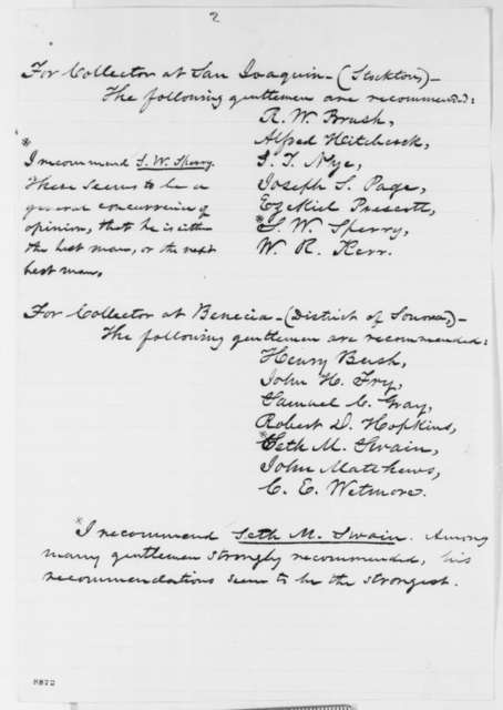 Salmon P. Chase to Abraham Lincoln, Monday, April 08, 1861  (Recommendations for California appointments)