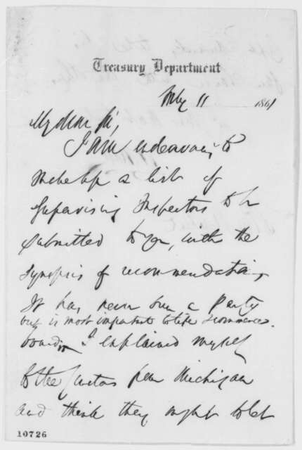 Salmon P. Chase to Abraham Lincoln, Thursday, July 11, 1861  (Appointment)