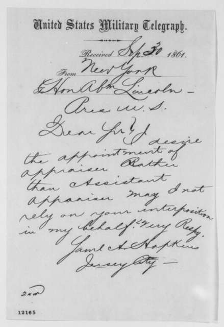 Samuel A. Hopkins to Abraham Lincoln, Monday, September 30, 1861  (Telegram requesting appointment)