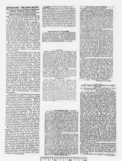 Samuel Austin Allibone to Abraham Lincoln, Saturday, January 26, 1861  (Great Britain and South Carolina)