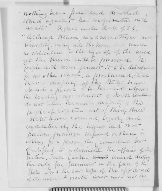 Samuel Austin Allibone to Abraham Lincoln, Tuesday, January 08, 1861  (Fort Sumter)